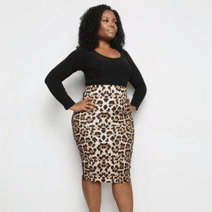 Leopard bodycon pencil skirt